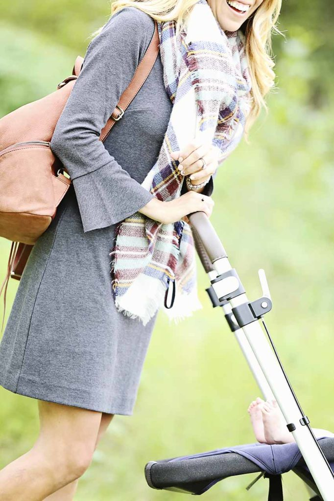 madewell dress, bell sleeves, backpack