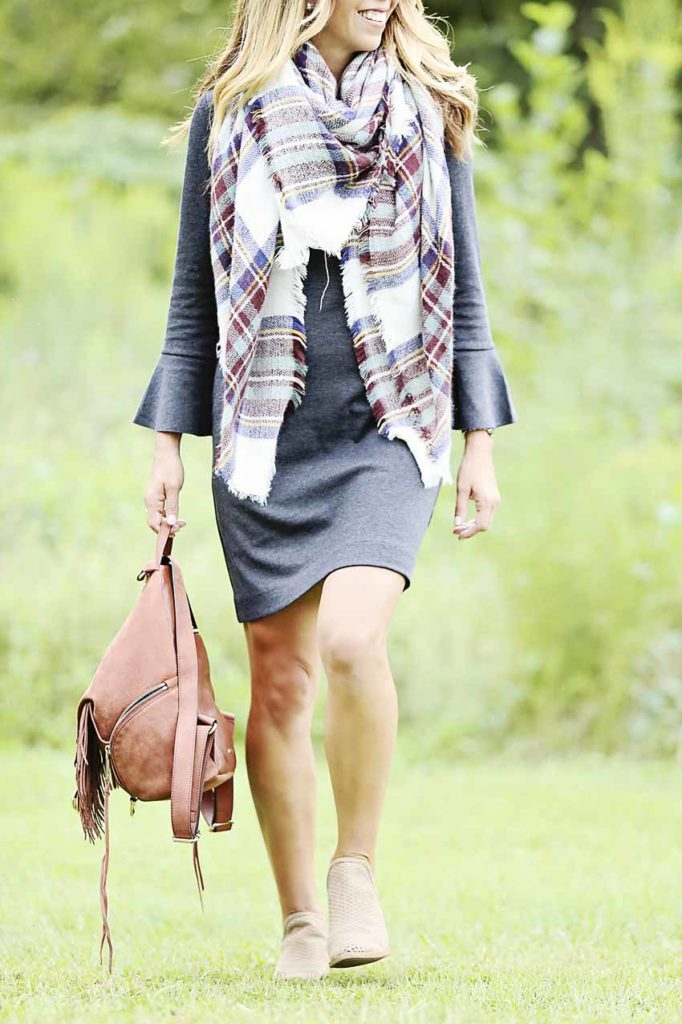 madewell dress, workwear, blanket scarf, booties